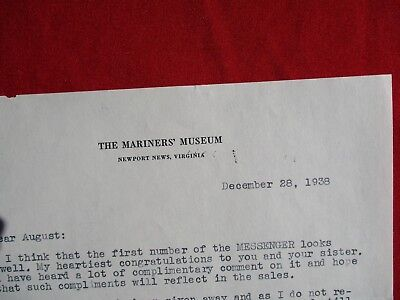 """1938 """"The Mariners Museum"""" Newport News,Virginia,Signed Alec Brown letter!"""