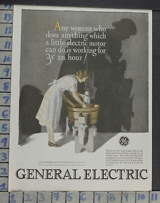 1927 General Electric Laundry Wash Motor Woman Home Decor Vintage Art Ad  Co100