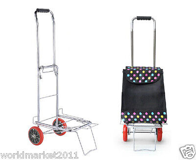 %H Collapsible Portable Black Luggage Cart/Trolleys Trailer With A Shopping Bag