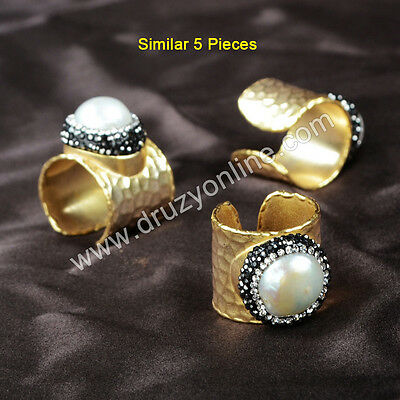 5Pcs Gold Plated Natural White Pearl & Paved Zircon Band Ring TJ181