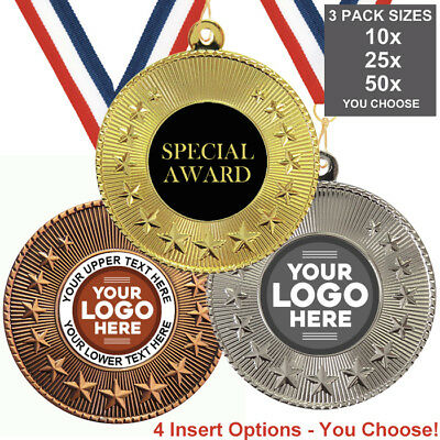 SPECIAL AWARD SCHOOL METAL MEDALS 50mm, PACK OF 10 RIBBONS INSERTS OWN LOGO