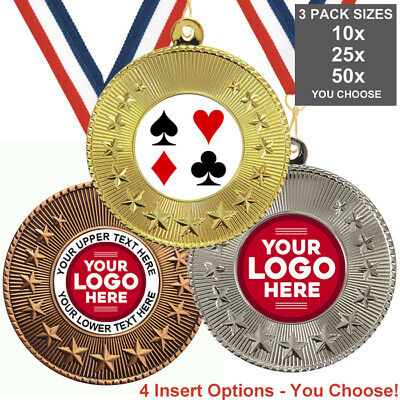 CARDS POKER GAMES METAL MEDALS 50mm, PACK OF 10 RIBBONS INSERTS OWN LOGO & TEXT