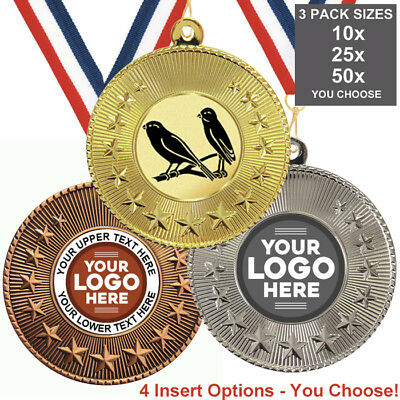 BIRD CLUB WATCHER METAL MEDALS 50mm, PACK OF 10 RIBBONS INSERTS OWN LOGO