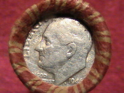 1946 Silver Roosevelt-1937 S Wheat on ends/ 49 Wheat Cent Roll See Photos