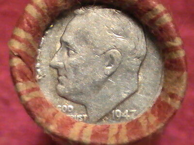 1947 Silver Roosevelt-1930 S Wheat on ends/ 49 Coin Wheat Cent Roll See Photos