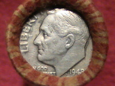 1948 Silver Roosevelt-1938 D Wheat on ends/ 49 Coin Wheat Cent Roll See Photos