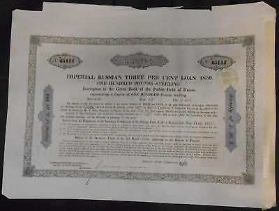 31848 RUSSIA 1859 Imperial Russian 3% Loan £100 Inscription with coupon