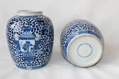 pair Chinese vases signed 2 vase 's signed blue circle porcelain pottery antique