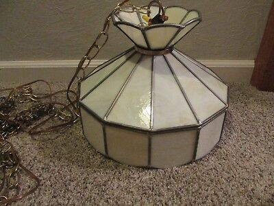 Vintage Tiffany Style Stained Glass Hanging Chain Swag Light Lamp - 15 Foot Cord