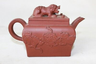 Chinese yixing teapot 17th 18th c century kangxi pottery foo dog top uplay decor