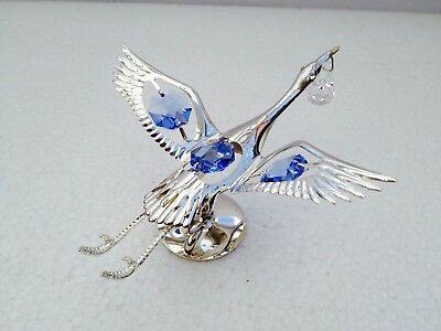 NEW Crystal Temptation Swarovski Silver Plated Crystal Stork Blue Ornament Gift