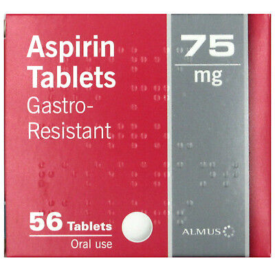 56 Aspirin 75mg Enteric Coated Gastro Resistant Tablets - EXP 12/2019