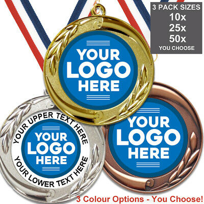 METAL MEDALS BIG 70mm WITH OWN LOGO, PACK OF 10 RIBBONS, INSERTS, 3 PACK OPTION