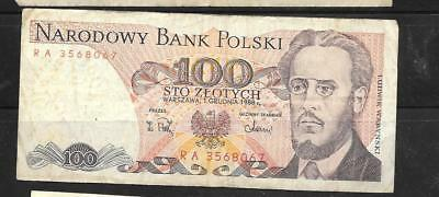 POLAND #143e 1988 VG CIRCULATED 100 ZLOTYCH OLD CURRENCY BANKNOTE PAPER MONEY