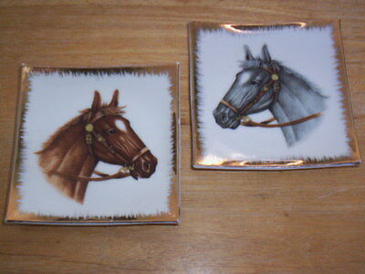 Vintage Pair of Small Horse Head Plates  California Creations by Bradley Japan