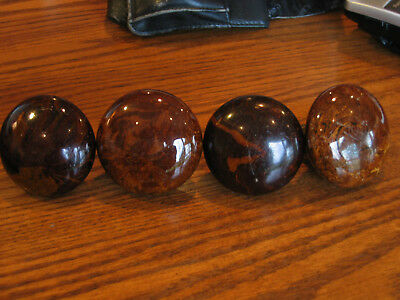 Antique Ceramic Door Knobs (4) Brown Swirl - Non Matching - LOOK!!