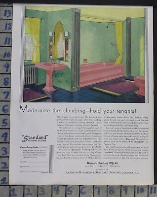 1930 Standard Modern Pink Bath Room Tub Sink Home Decor Vintage Art Ad  Cg68