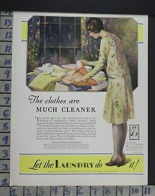 1929 Laundry Clothes Dry Clean Mat Housewife Home Decor Vintage Art Ad  Bq33