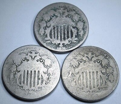Lot of 3 1800s U.S. 5 Cent Shield Nickel Antique US Currency Money Coins Old USA