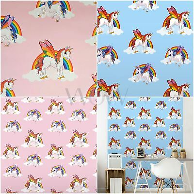 Rainbow Unicorns Wallpaper Kids Girls Room Decor - Pink 6303 & Blue 6304