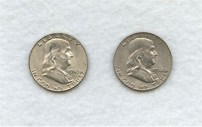 2-Circulated Franklin Silver Half Dollars: 1-1963-D and 1-1962-D