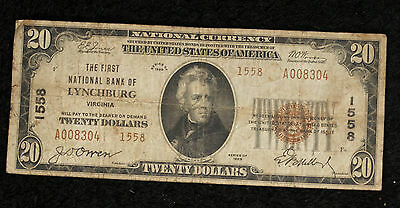 1929 $20 Type 2 National Banknote -First National Bank of Lynchburg VA - # 1558