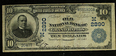 $10 Old National Bank of Grand Rapids MI - 1902 Date Back - Charter # 2890