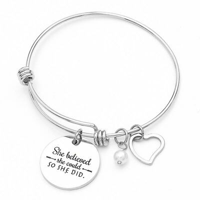 Charm Stainless Steel  Pearl Heart Women Bangle Bracelet Adjustable Jewelry Gift