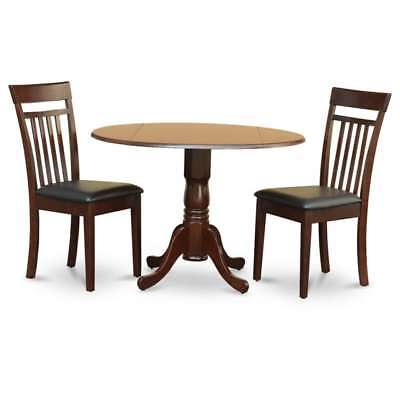 Mahogany Drop Leaf Table and 2 Chairs 3-piece Dining Set