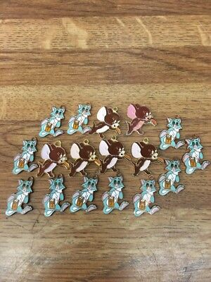 Lot Of 17 Tom & Jerry Cartoon Cat & Mouse Enameled Charms