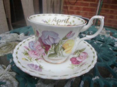 """Royal Albert Flower of the Month Series April ,""""Sweet Pea"""" Cup and Saucer,"""