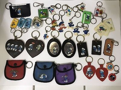 32 SMURF Keychains Mirror Purse Key Chains Smurfette 80's cartoons