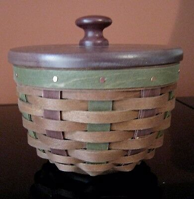 """Longaberger 4"""" Harvest Bowl Basket w Protector and Lid Dark Brown with Green"""