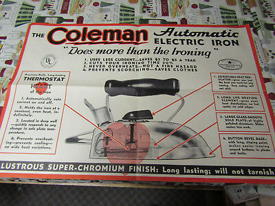 Rare 1927 Coleman Automatic Electric Iron Poster Sign Large No Reserve