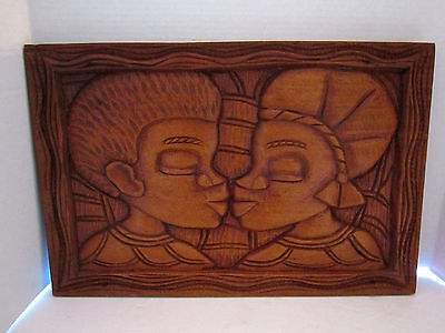 Hand Carved Wood Tribal African Man & Woman Profile Kissing Figures Wall Plaque