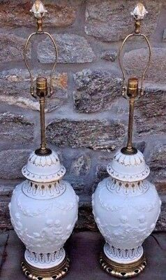 """Pair of Beautiful Vintage French Porcelain Table Lamps w/ Cherubs ~ 37"""" Tall"""