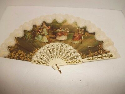 Vintage Folding Hand Held Fan Lace Cloth HP Victorian Couples White Gold Signed