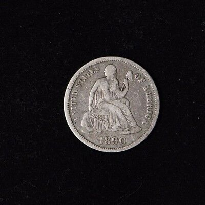1890 10C Seated Liberty Silver Dime Circulated Us Type Coin