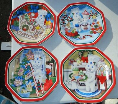 "Danbury Mint Pillsbury Doughboy Set of 4 Christmas Plates 2007 8"" Wide"