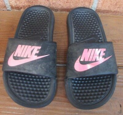 Youth Size 1 Slip-On Nike Sport Sandals - Black with Pink Logo