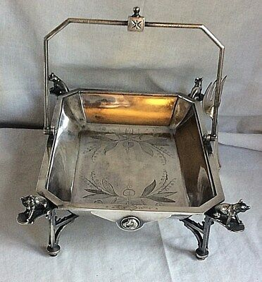 "VICTORIAN MERIDEN QUAD-SILVER PLATE "" Foxes and Horses "" CAKE or BRIDES BASKET"