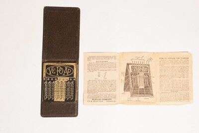 VE-PO-AD pocket adding machine 1920's with Instructions! Antique Calculator