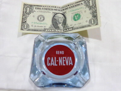VINTAGE Casino - ASHTRAY CAL-NEVA - RENO NEVADA - BLUE GLASS