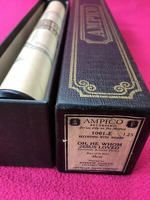 AMPICO piano roll 1061-E morse OH. HE WHOM JESUS LOVED christian hymn JOINER