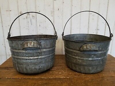 2 Old Vintage Metal Farm Buckets ~ Rustic Primitive Barn Decor Garden Planters