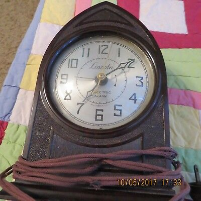 Vintage Bakelite 1930's Lincoln Electric Cathedral Clock Needs Work Orig Cord