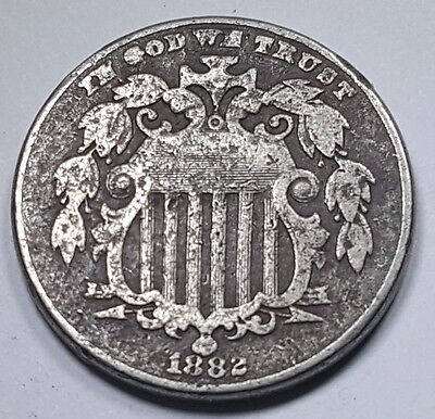 1882 VF-XF U.S. 5 Cent Shield Nickel Old US Antique Currency Coin Money USA
