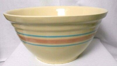 """McCoy Pottery Pink Blue Stripe Farm 12"""" Large MIXING BOWL Oven Ware Country Farm"""