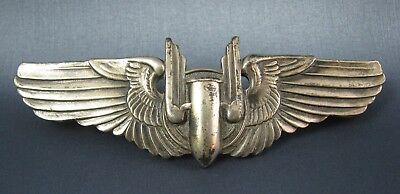 """Full Size 3 """" WW2 Cold War US Bombardier Sterling Silver Wings"""