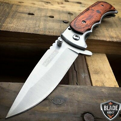 "7"" TAC FORCE WOOD Tactical Spring Assisted Open FOLDING BLADE Pocket Knife NEW-M"